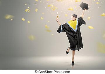 kobieta, jej, młody, skala, świętując, asian, woluta