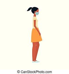 kobieta, jej, medyczny, maska, młody, albo, ciemny, tshirt, ochronny, dziewczyna, poła, face., obielany