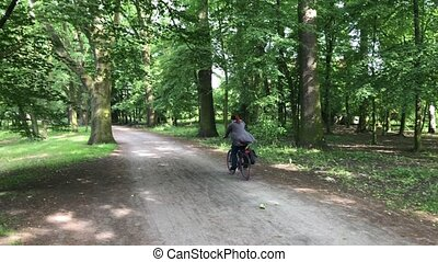 kobieta, jej, park, sklejony, rower jeżdżenie