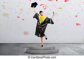 kobieta, jej, skala, asian, student, confetti, świętować, szczęśliwy