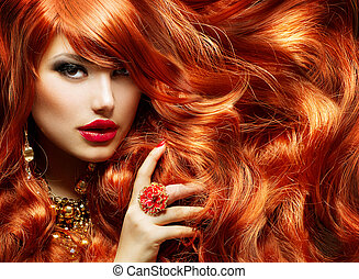 kobieta, kędzierzawy, długi, fason, hair., portret, czerwony