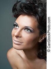 kobieta, kędzierzawy, fason, czarnoskóry, hair., portret