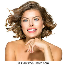 kobieta, kędzierzawy, piękno, na, młody, włosy, krótki, white., portret