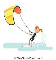 kobieta, kania, święto, surfing, część, hiszpania, doprowadzenia