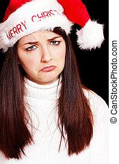 kobieta, kapelusz, boże narodzenie, smutny