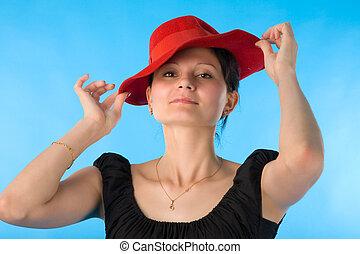 kobieta, kapelusz, czerwony