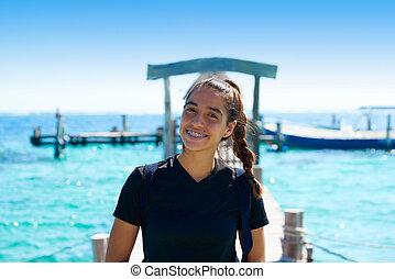 kobieta, karaibski, młody, łacina, uśmiechanie się, molo