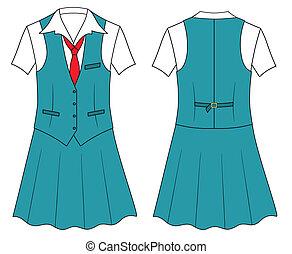 kobieta, kasjer, albo, sprzedawca, odzież