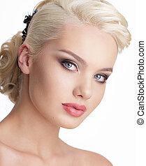 kobieta, kasownik, blond, do góry, uroczy, czysty, skóra,...