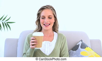 kobieta, kawa, picie, radosny