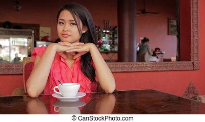 kobieta, kawiarnia, asian, wspaniały