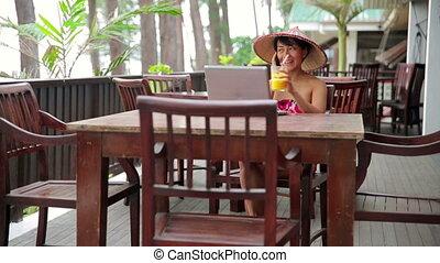 kobieta, kawiarnia, asian