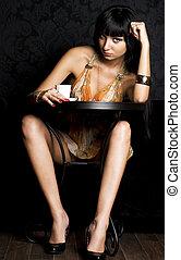 kobieta, kawiarnia, młody