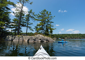 kobieta, kayaking, na, północny, jezioro