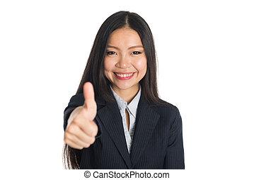 kobieta, kciuki do góry, handlowy, asian