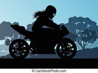 kobieta, kierowca, wektor, motocykl, tło, spełnienie, wyczyn...