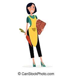 kobieta, kocher, w, żółty fartuch, z, cięcie deska