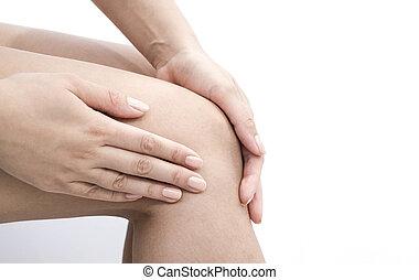 kobieta, kolano połączenie, osteoarthritis, posiadanie, biuro., sport., zwichnięcia, ból, okiełznuje, medyczny, po
