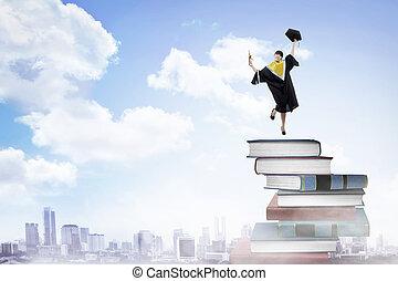 kobieta, kolegium, asian, skala, student