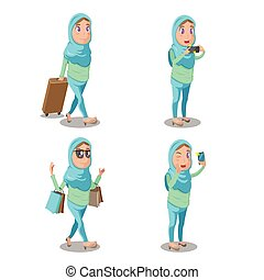 kobieta, komplet, podróż, muslim, wektor, rysunek