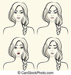kobieta, komplet, twarzowy, wzruszenia