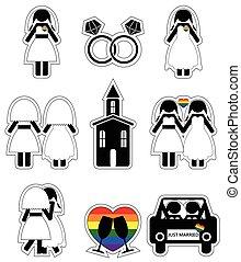 kobieta, komplet, wesoły, ikony, 2, ślub