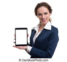kobieta, komputer, handlowy, tabliczka, dzierżawa