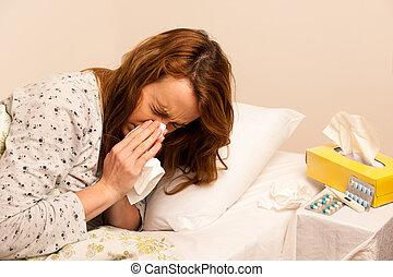 kobieta, kontrola, grypa, feaver, cyfrowy, termomether, dziewczyna