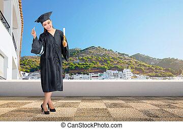 kobieta, korona, dyplom, skala, asian, ładny, woluta