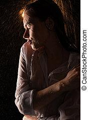 kobieta, koszula, młody, przelotny deszcz, mokry, sexy, prospekt
