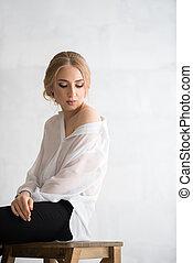 kobieta, koszula, studio, sexy, portret, biały