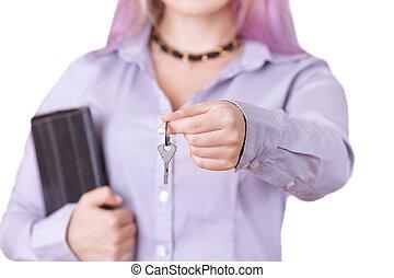 kobieta, koszula, tabliczka, klawiatura, zawiera, poza