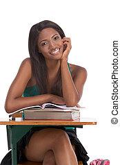 kobieta, książka, czarnoskóry, student, biurko, kolegium
