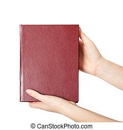 kobieta, książka, dzierżawa, czerwony, siła robocza