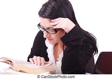kobieta, książka, handlowy, młody, biuro, czyta, piękny