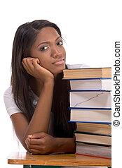 kobieta, książki, kolegium student, czarnoskóry, stóg