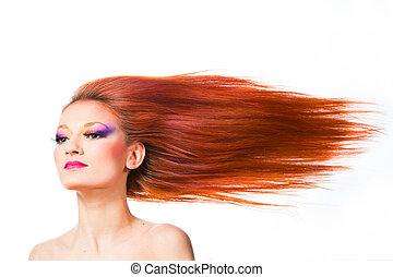 kobieta, kudły, czerwony, trzepotliwy, wiatr