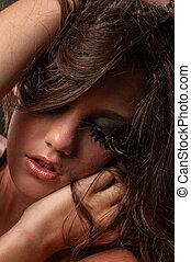 kobieta, kuszący, makijaż, ekstremum