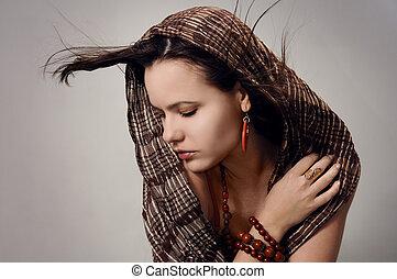 kobieta, kuszący, szalik