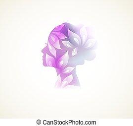 kobieta, kwiaty, prifile
