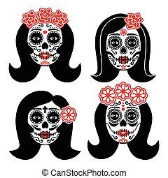kobieta, la, -, czaszka, catrina, meksykanin