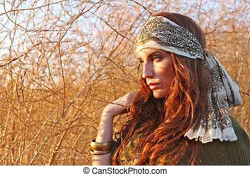 kobieta, lato, pole, piękny