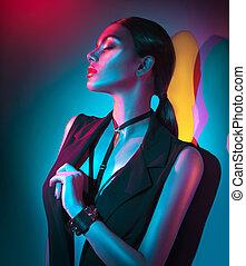 kobieta, lekki, makijaż, odzież, młody, jasny, przybory, czarnoskóry, portret, sexy, fason, neon
