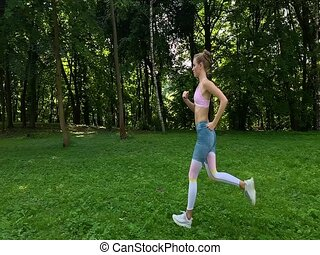 kobieta, lifestyle., motion., hhealthy, jogging, powolny, trail., las