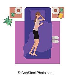 kobieta, litera, młody, łóżko, avatar