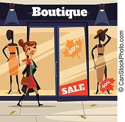 kobieta, litera, przeglądnięcie, sklep, okno., wektor, płaski, rysunek, ilustracja