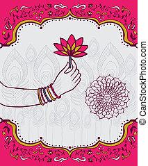 kobieta, lotos, indie, ręka, kwiat, tło