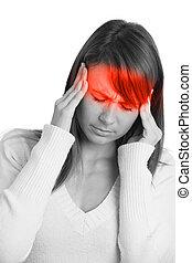 kobieta, młody, ból głowy