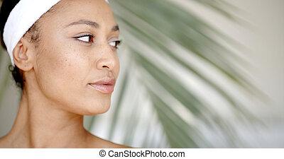 kobieta, młody, czysty, twarz