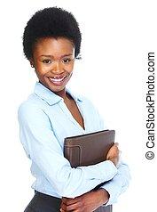 kobieta, młody, handlowy, afrykanin